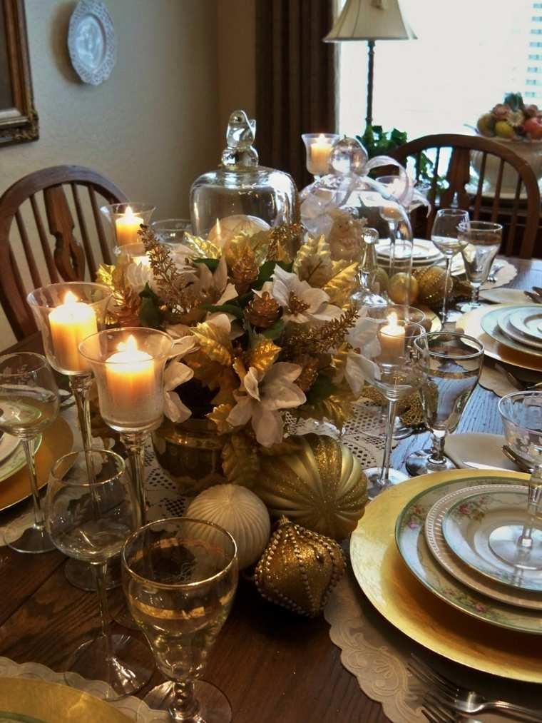 decoración de mesas dorado noche vieja