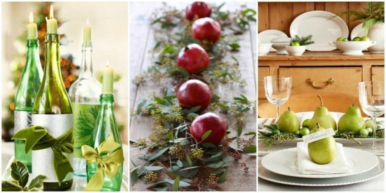 decoracion mesa de navidad frutas