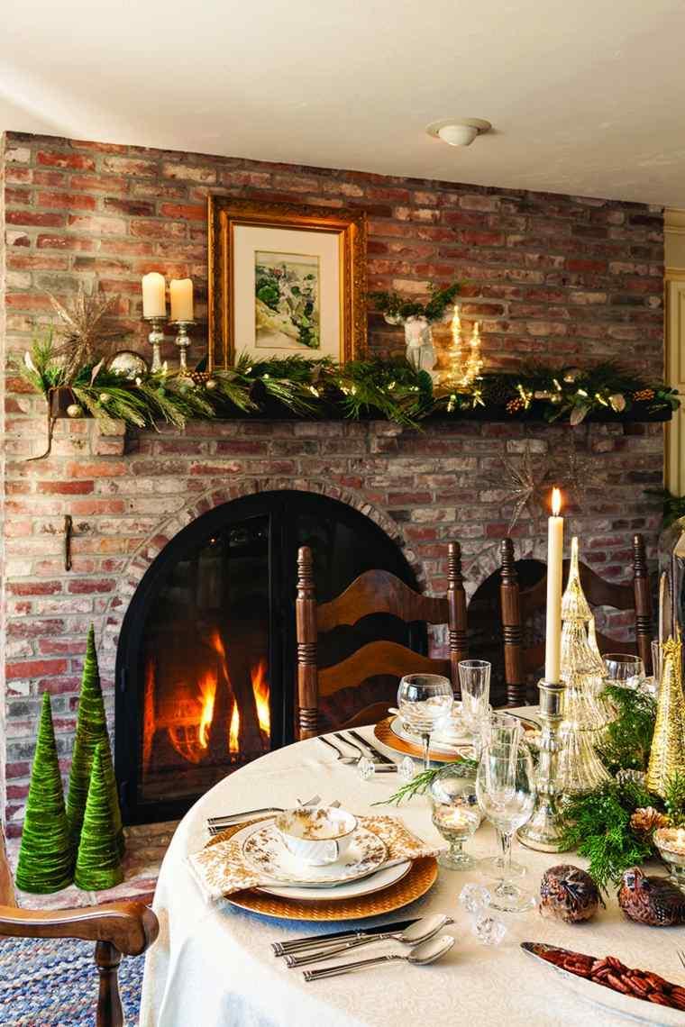 decoracion navidena ramas frescas abeto chimenea ideas