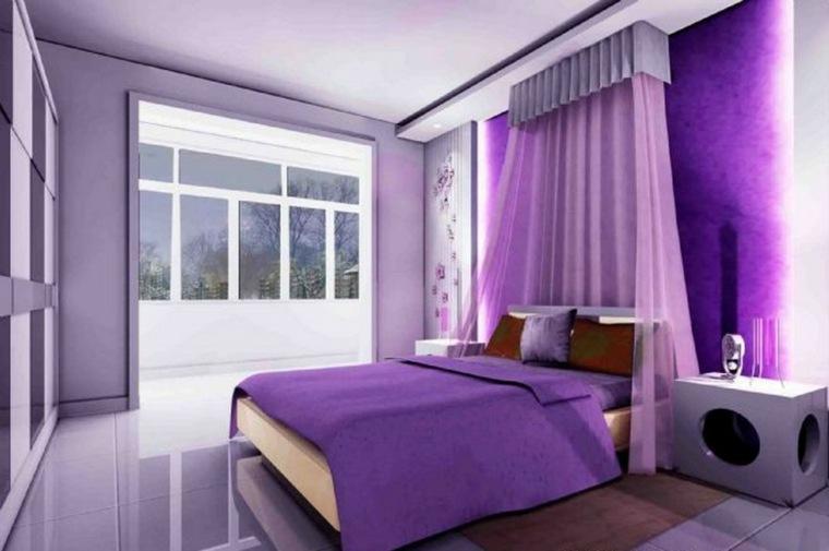 decoración para dormitorio moderno morado