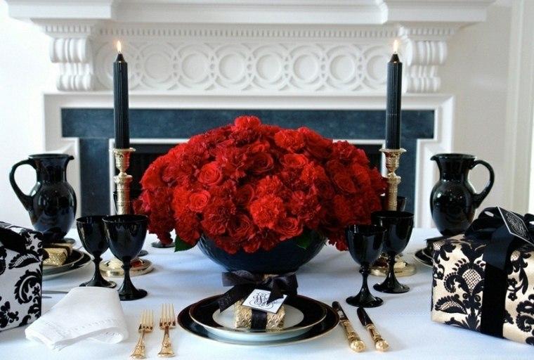 decoración para navidad rojo mesa