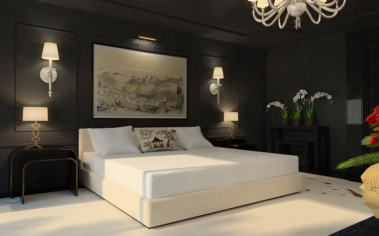 decoracion pared opciones negro cama blanca ideas