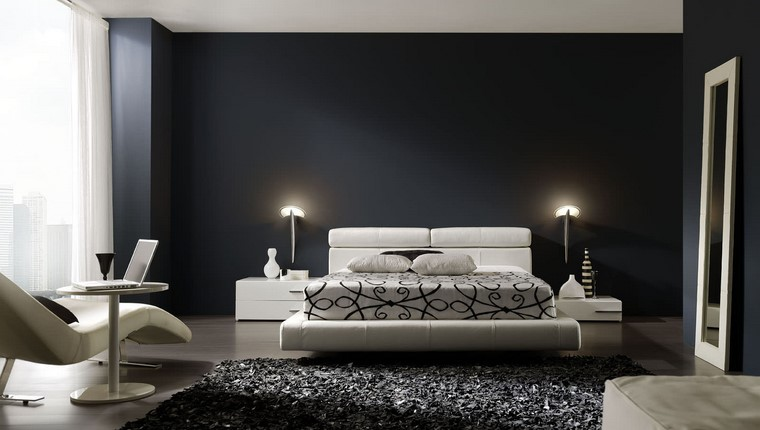 decorar-dormitorio-blanco-muebles-paredes-negro