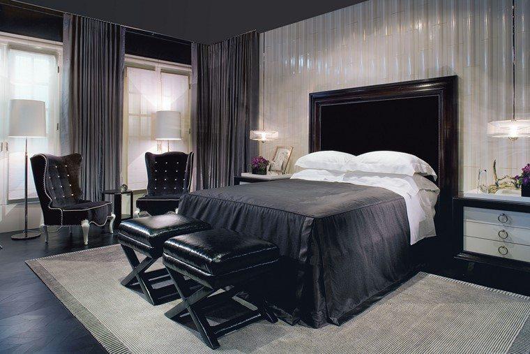decorar dormitorio blanco negro cama taburetes sillones ideas