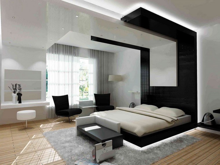 decorar dormitorio blanco negro contemporaneo diseno ideas