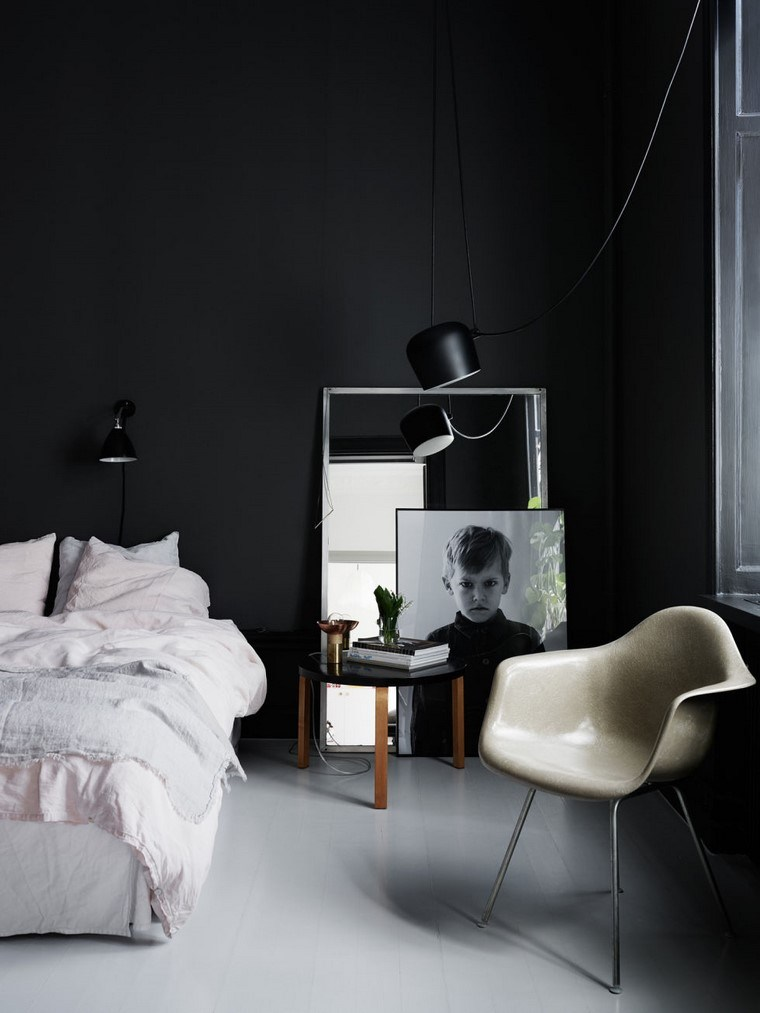 decorar dormitorio blanco negro pared ideas