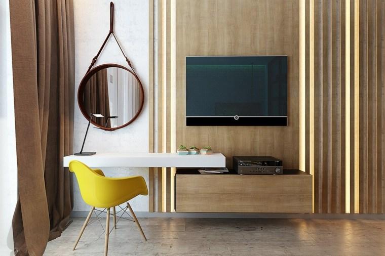 modernas paneles madera luces espejo complemento conceptos