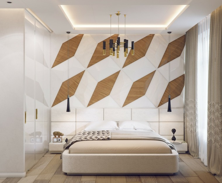 decorar paredes diseño formas geometricas lamparas