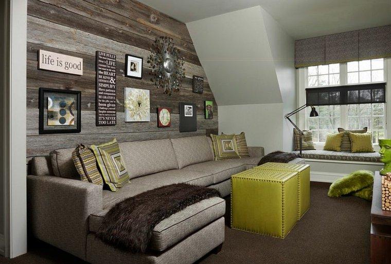 decorar paredes diseño madera cojines lamparas
