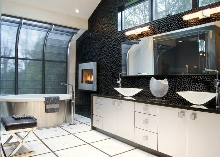 espejo complemento textura negro banera