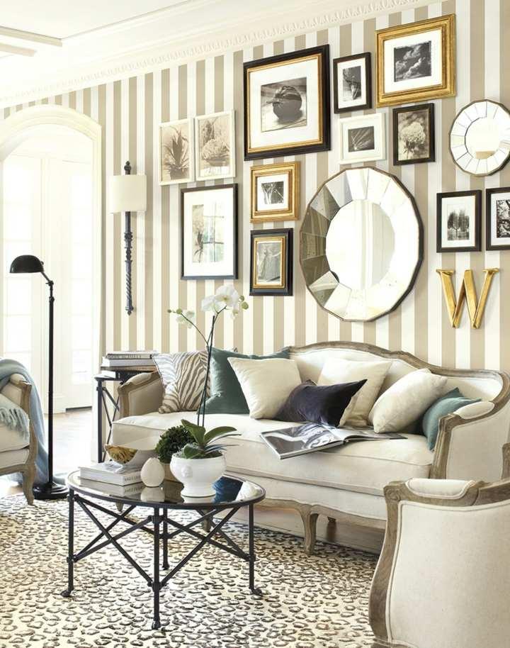 decorar paredes fotos sala estar lineas