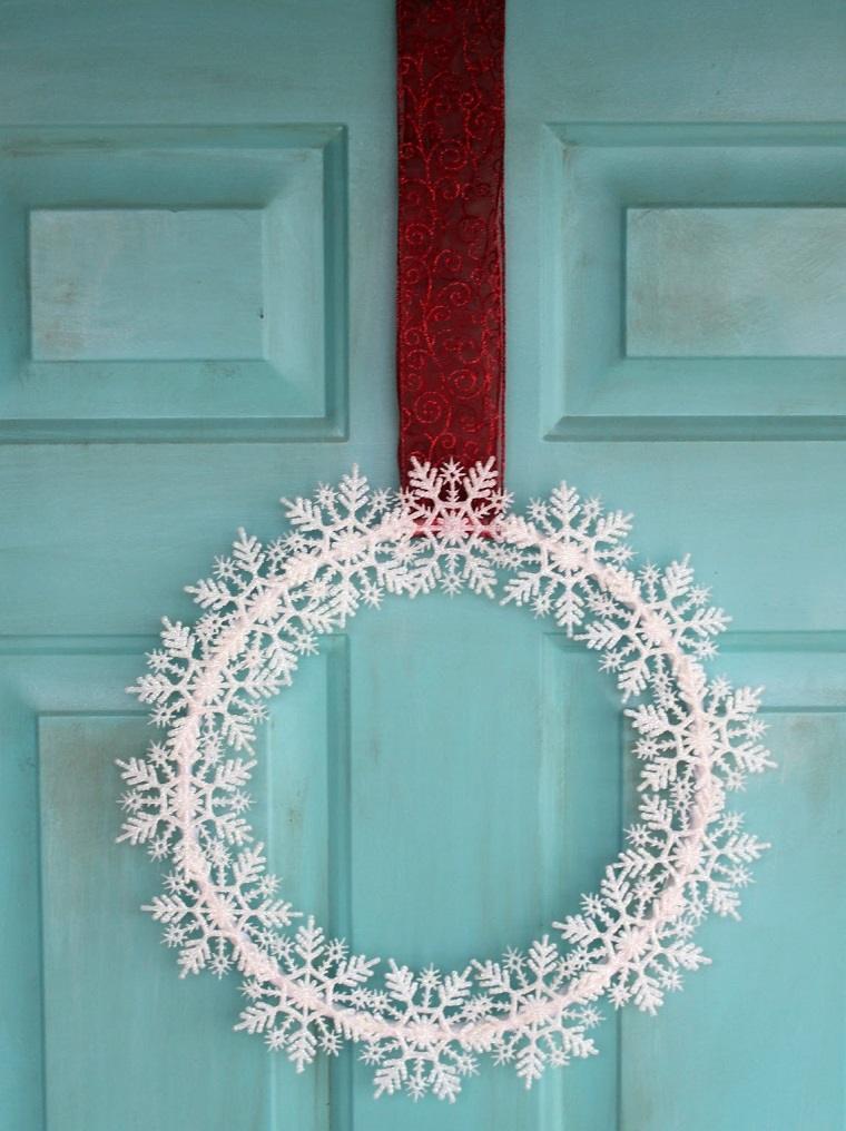 decorar puertas navidad diseno copos nieve ideas
