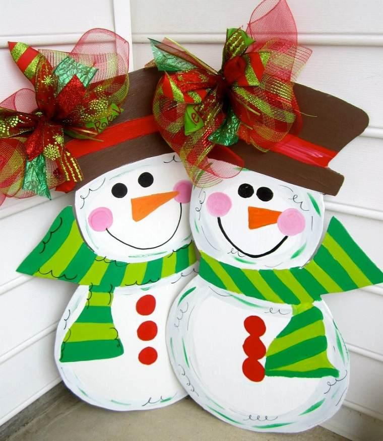 decorar puertas navidad diseno munecos nieve ideas