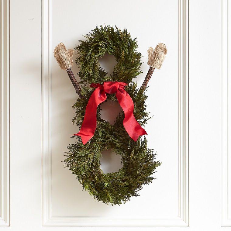 decorar puertas navidad diseno ramas abeto decoracion ideas