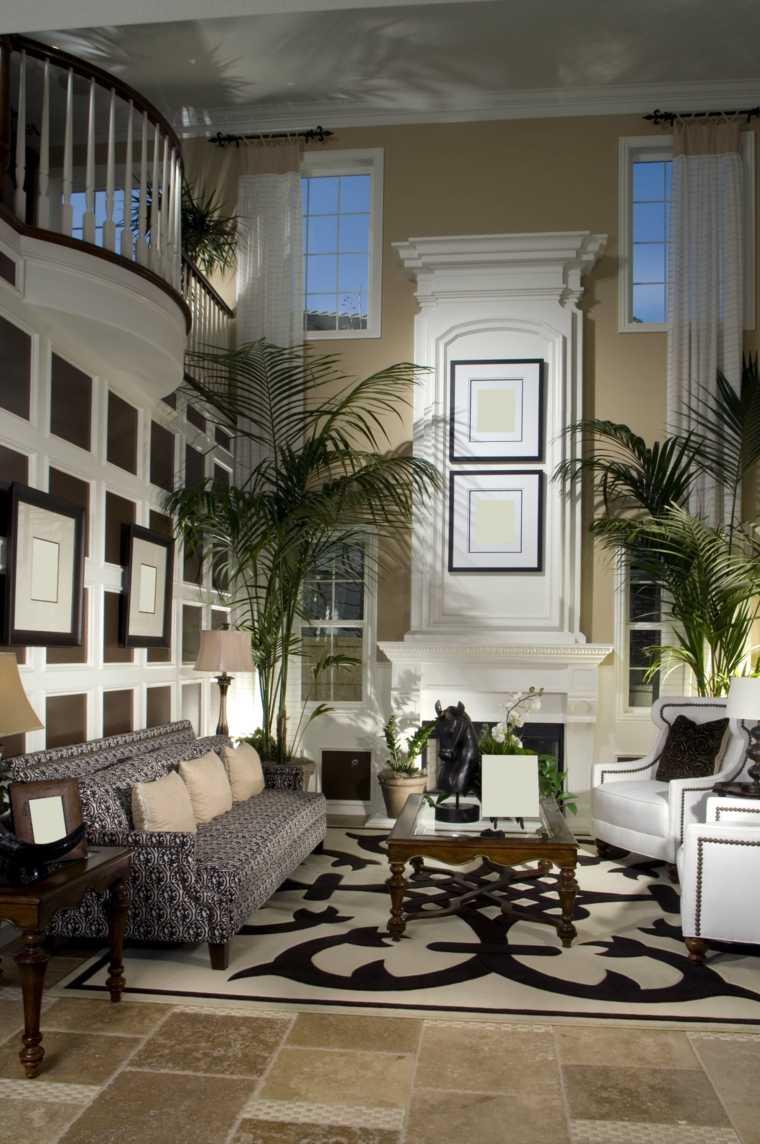 decorar salon alargado diseno muebles balncos plantas ideas