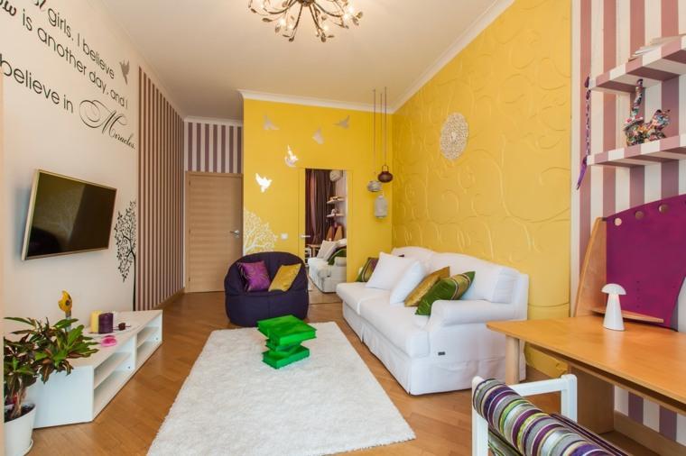 decorar salon alargado diseno pared colores vibrantes ideas