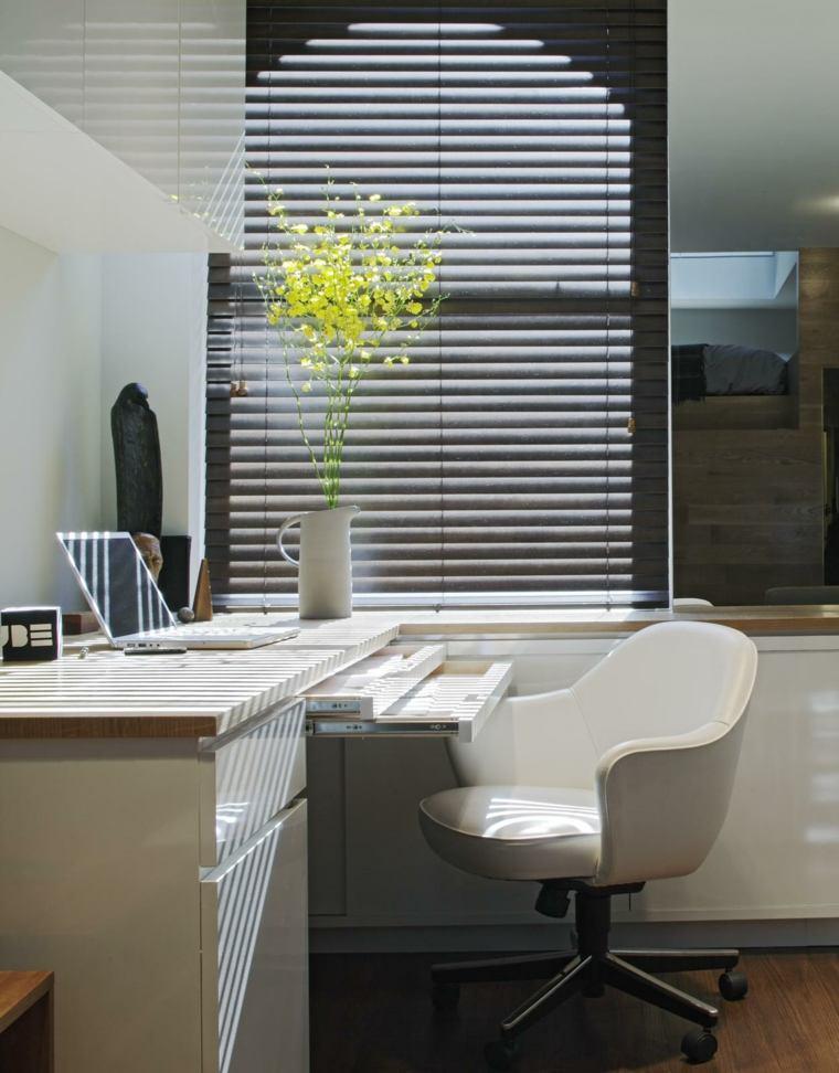 despacho oficina muebles minimalistas blancos