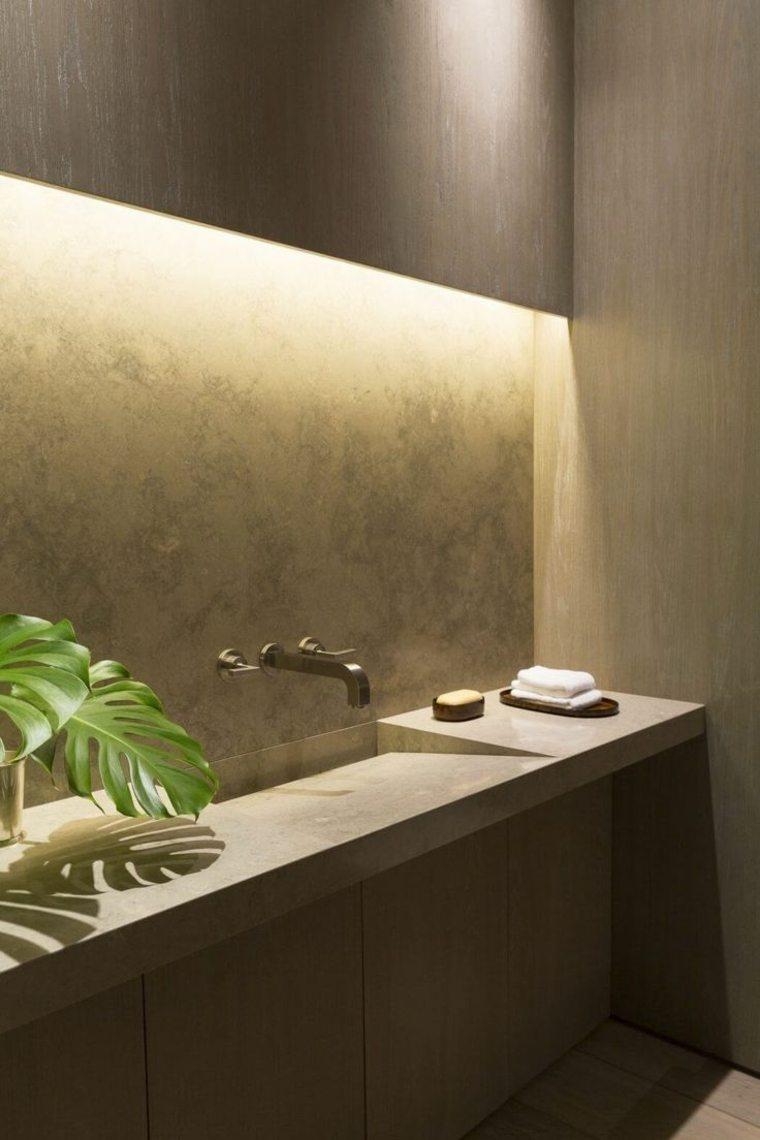 diseno de banos opciones iluminacion escondida lavabo pared hormigon ideas