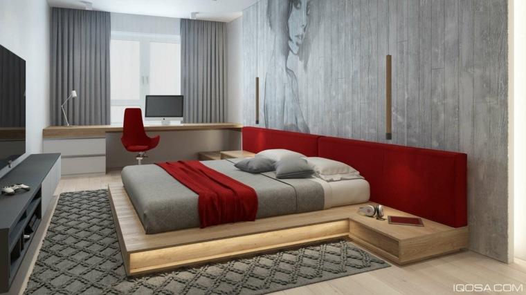 diseno dormitorio moderno rojo iqosa