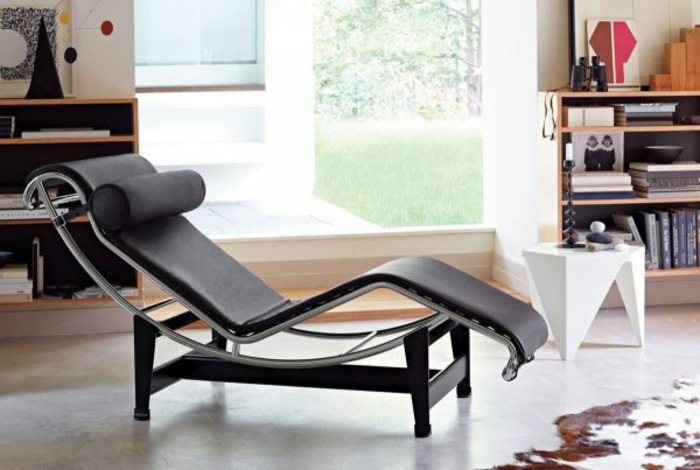 diseño silla tumbona negra