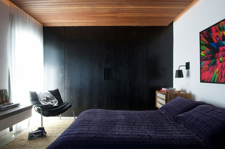 dormitorio modero pared añil
