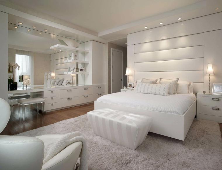dormitorio amplio lujoso blanco muebles paredes ideas