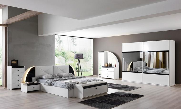 Decorar dormitorio en blanco y negro muy elegante - Dormitorio con muebles blancos ...