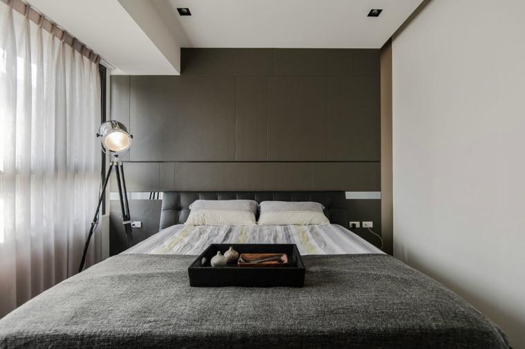 dormitorio moderno cabecero color gris