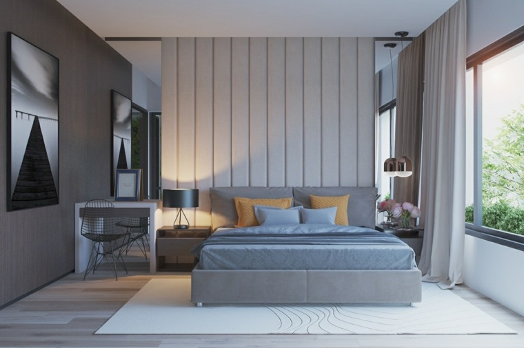 dormitorio color gris Hieu Doan