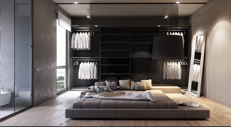 dormitorio gris cama suelo diseno moderno ideas