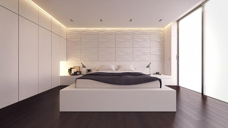 dormitorio minimalista blanco gris iluminado diseno ideas