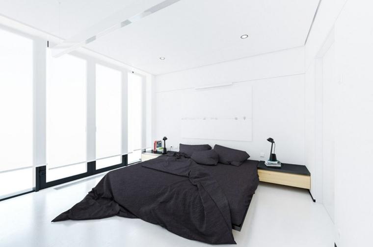 chambre à coucher minimaliste blanc noir hoski idées