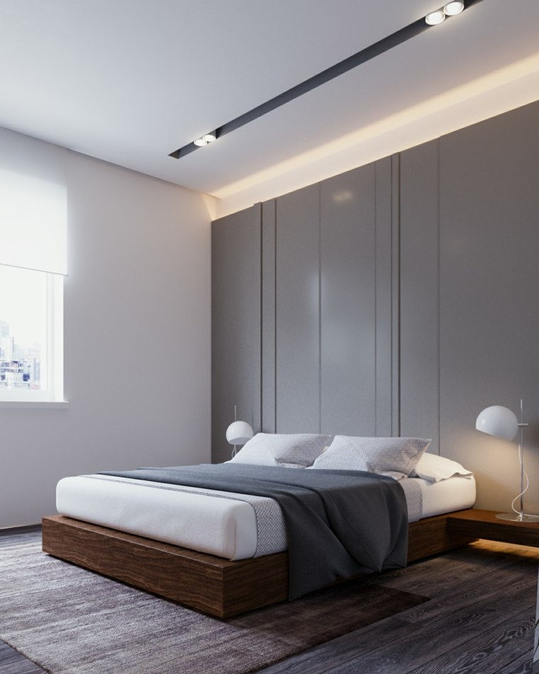 dormitorio minimalista cama madera yevhen zahorodnii ideas