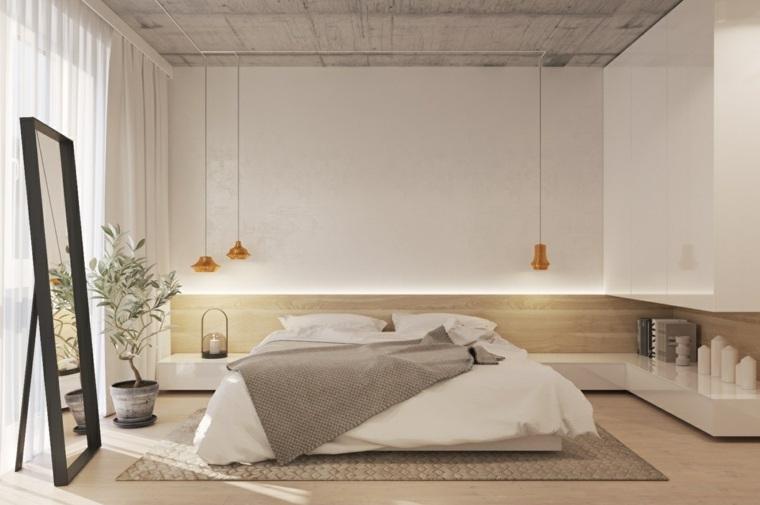 Combinaison chambre à coucher minimaliste bois blanc et idées d'espace