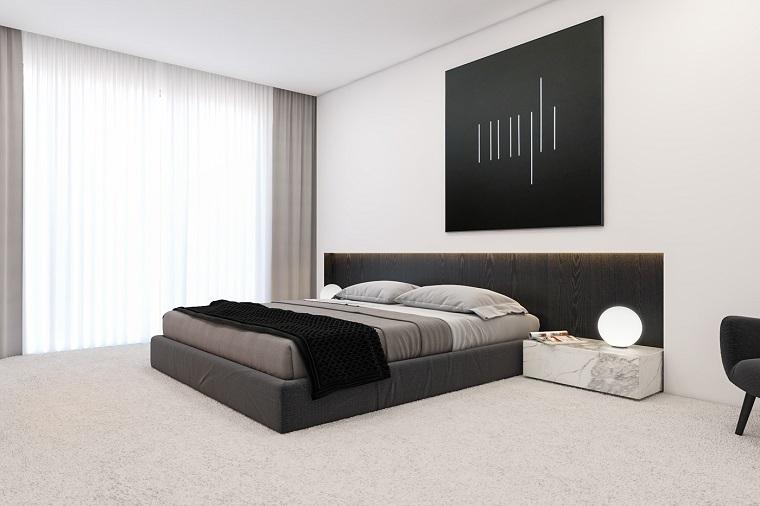 dormitorio minimalista combinacion blanco negro opciones ideas