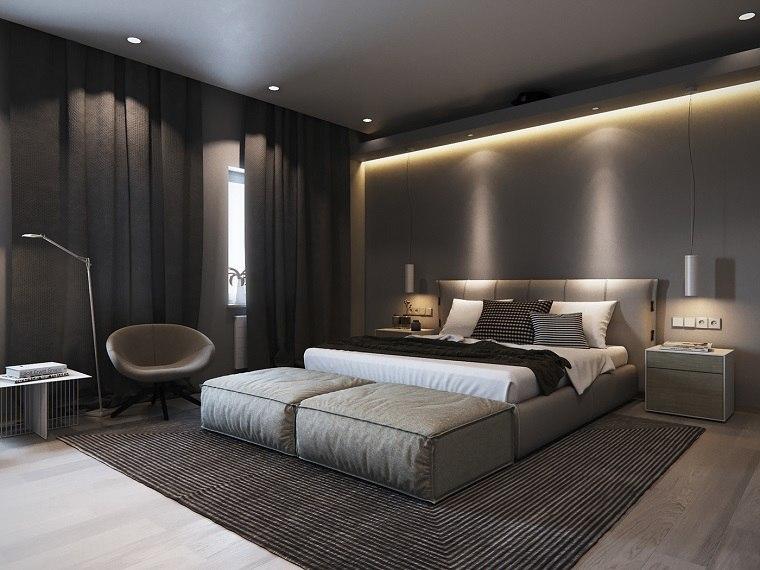 chambre à coucher minimaliste lit moderne gris. idées de design