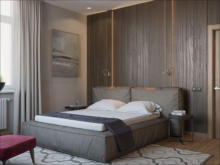dormitorio minimalista moderno paneles madera Vyacheslav Koretsky