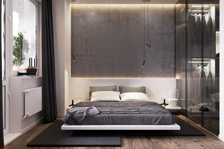 dormitorio minimalista pared gris hormigon vlad kislenko ideas