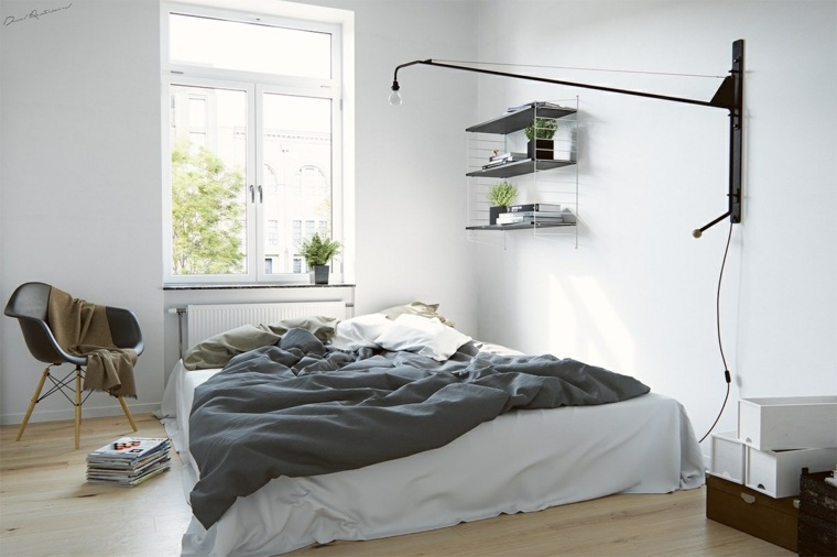 dormitorio estilo nórdico sencillo