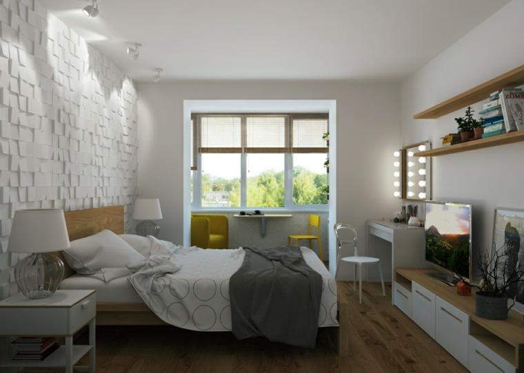 dormitorios blancos cama muebles madera ideas