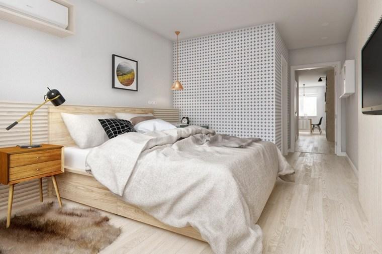 dormitorios blancos luminosos diseno cama madera ideas