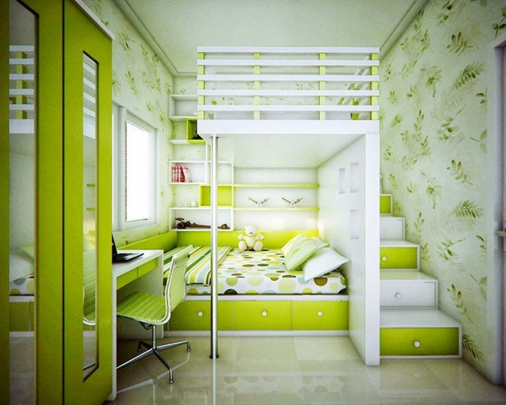 dos niveles verdes paredes flores
