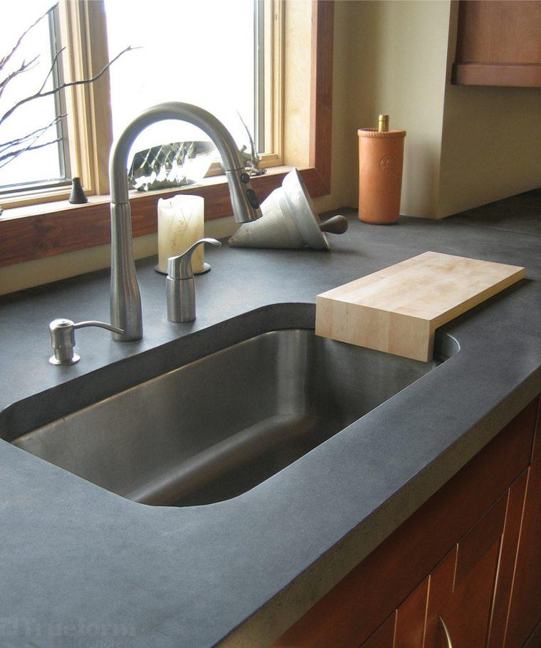 Cocina con isla de hormigón de estilo moderno - 42 diseños -