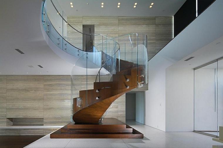 escalera de madera barandilla vidrio