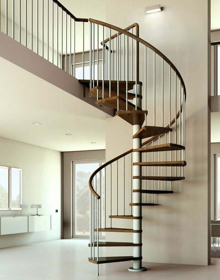 escalera madera laminada baranda acero