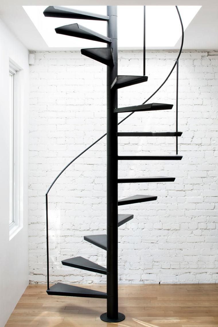 escalera sencilla caracol negra minimalista