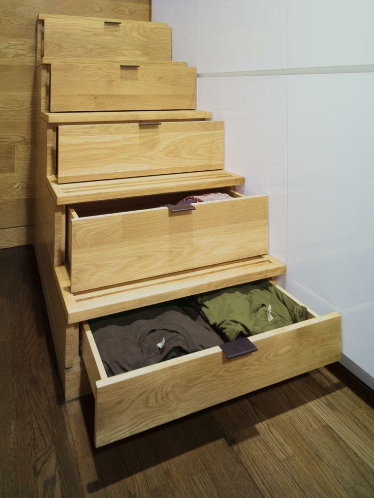 escaleras cajones funcionales madera dieño