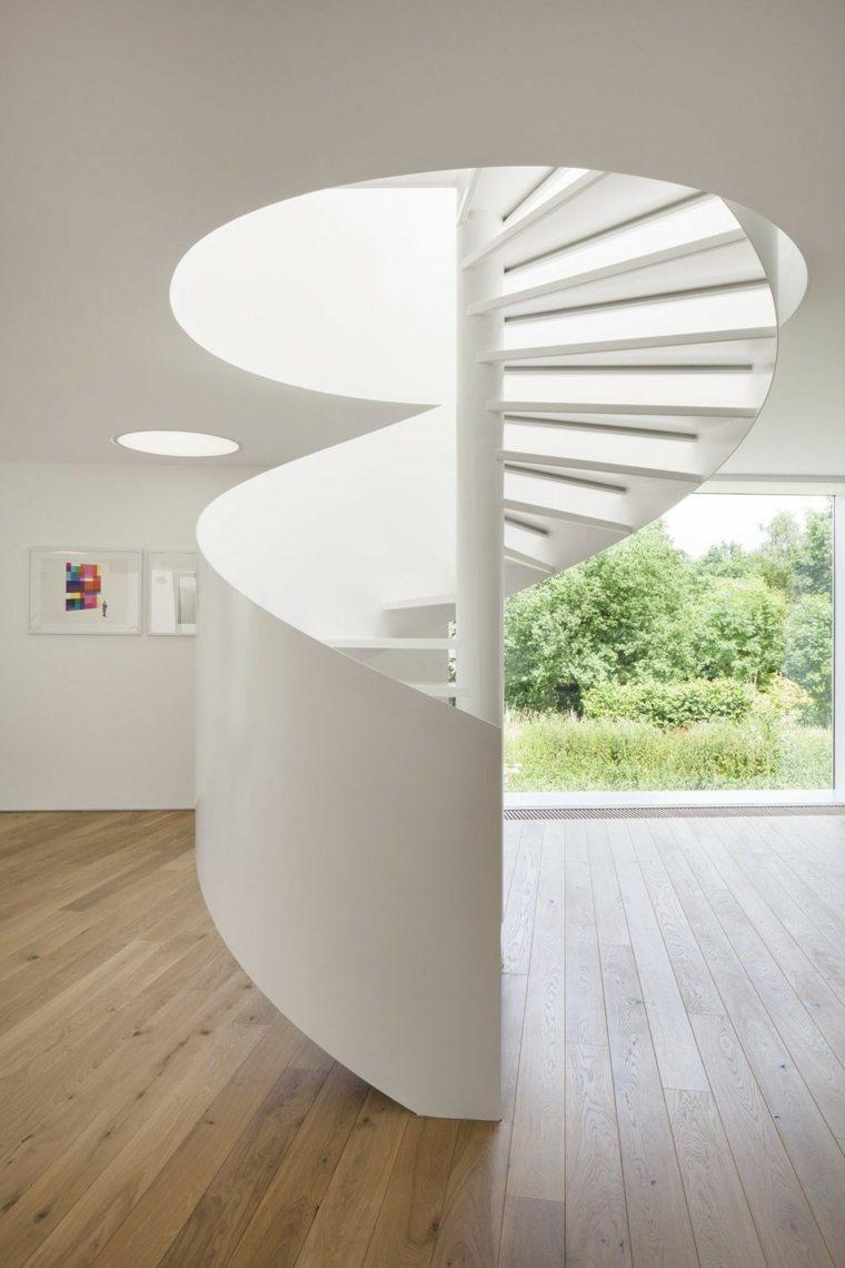 escaleras caracol blancas modernas