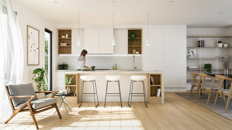 estilo escandinavo cocinas diseno abierto apartamento ideas