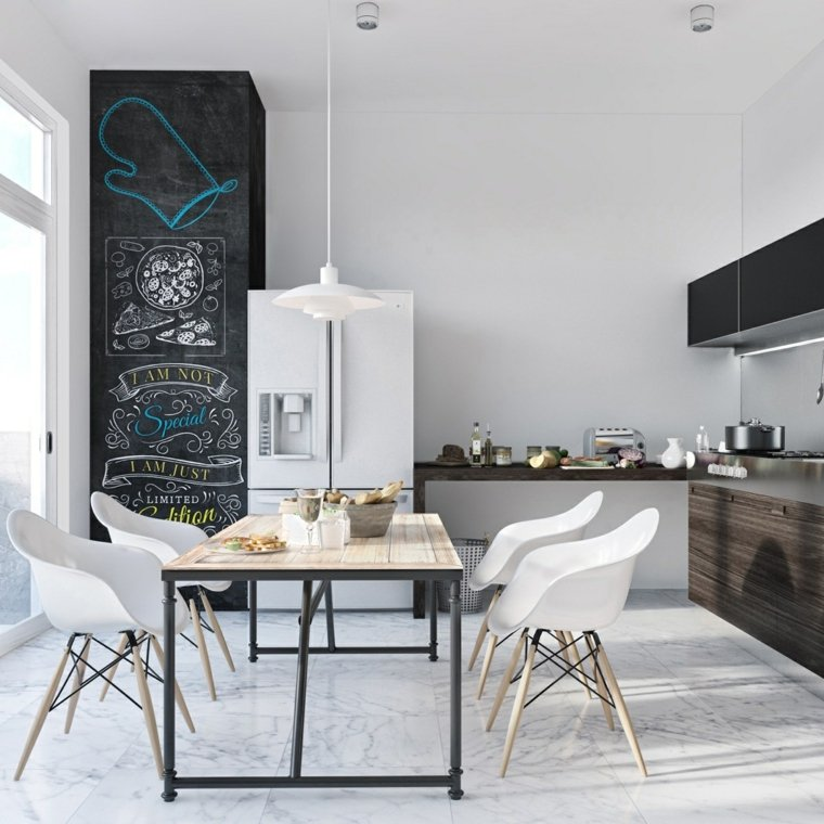 estilo escandinavo cocinas diseno accentos color negro ideas